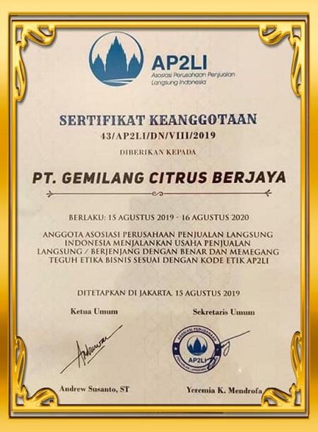 Sertifikat Member AP2LI